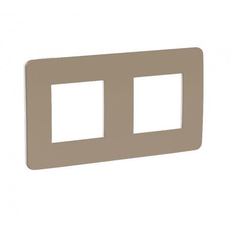 Plaque de finition - taupe - liseré blanc - 2 postes