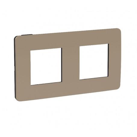 Plaque de finition - taupe - liseré anthracite - 2 postes
