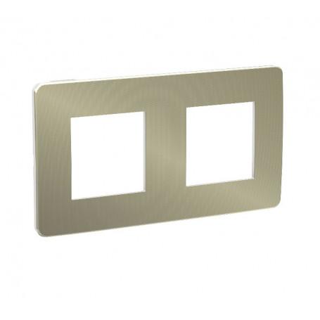 Plaque de finition - bronze - liseré blanc - 2 postes
