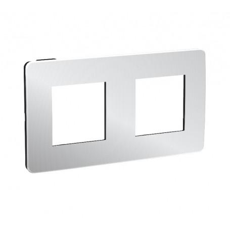 Plaque de finition - Aluminium liseré Anthracite - 2 postes