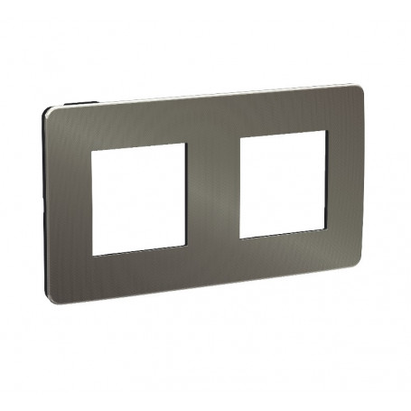 Plaque de finition - Black aluminium liseré Anthracite - 2 postes