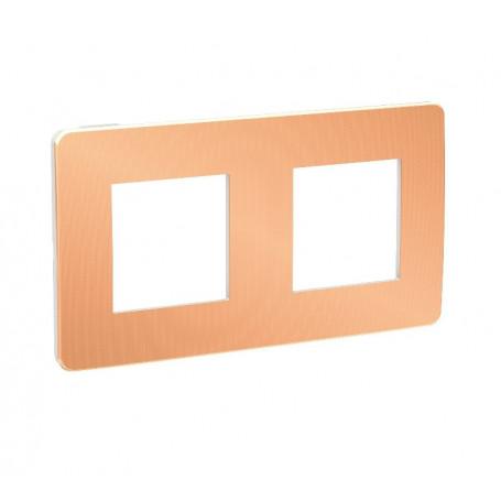 Plaque de finition - Cuivre liseré blanc - 2 postes