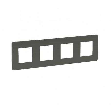 Plaque de finition - gris foncé liseré blanc - 4 postes
