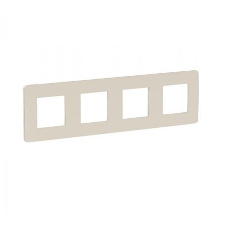 Plaque de finition - gris pierre liseré blanc - 4 postes