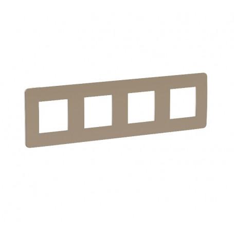 Plaque de finition - taupe liseré blanc - 4 postes