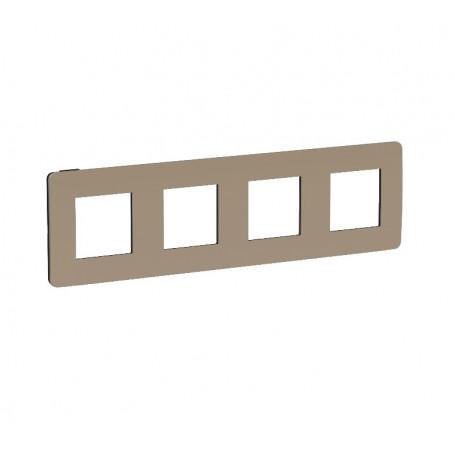 Plaque de finition - taupe liseré anthracite - 4 postes