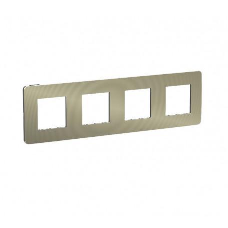 Plaque de finition - bronze liseré anthracite - 4 postes