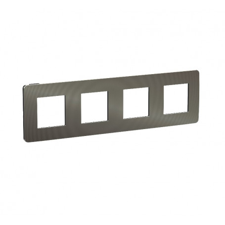 Plaque de finition - black aluminium liseré anthracite - 4 postes
