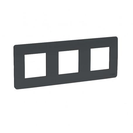 Plaque de finition - anthracite - 3 postes