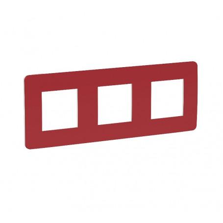 Plaque de finition - rouge cardinal liseré blanc - 3 postes