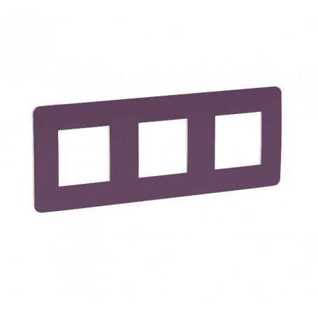 Plaque de finition - prune liseré blanc - 3 postes