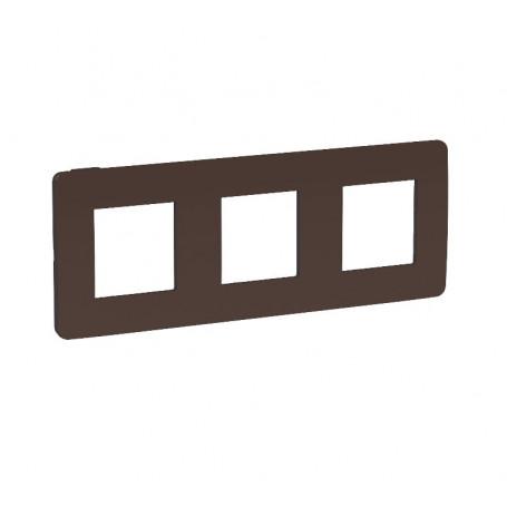 Plaque de finition - chocolat liseré anthracite - 3 postes