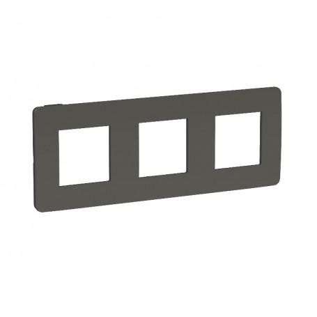 Plaque de finition - gris foncé liseré anthracite - 3 postes