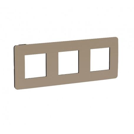 Plaque de finition - taupe liseré anthracite - 3 postes