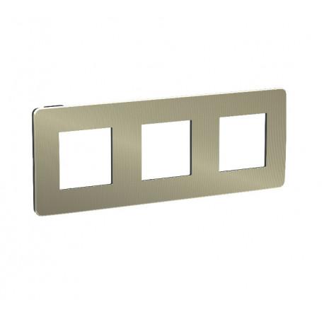 Plaque de finition - bronze liseré anthracite - 3 postes