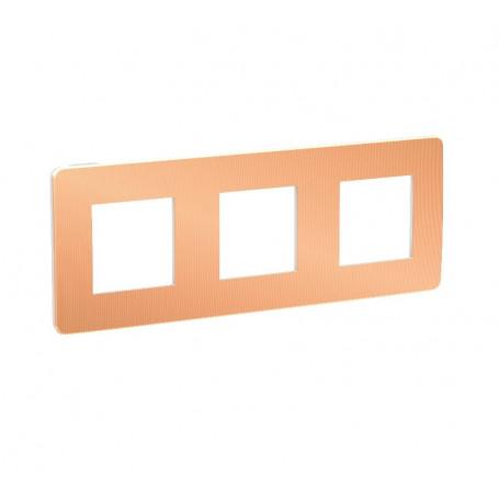 Plaque de finition - cuivre liseré blanc - 3 postes