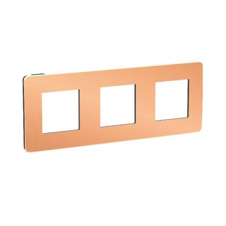 Plaque de finition - cuivre liseré anthracite - 3 postes
