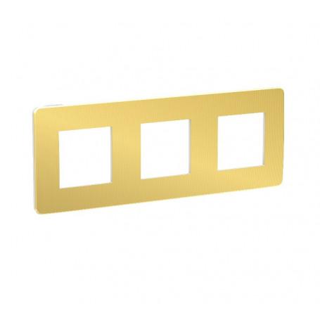 Plaque de finition - or liseré blanc - 3 postes